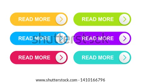 Web buttons are orange, bright blue, red, green, purple and turquoise color. Ready vector buttons for use in web design, apps, banners and more. #1410166796