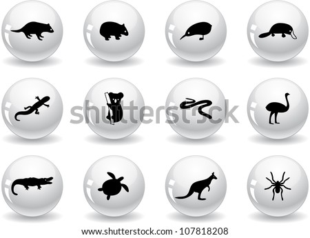 Web buttons, australian animal icons