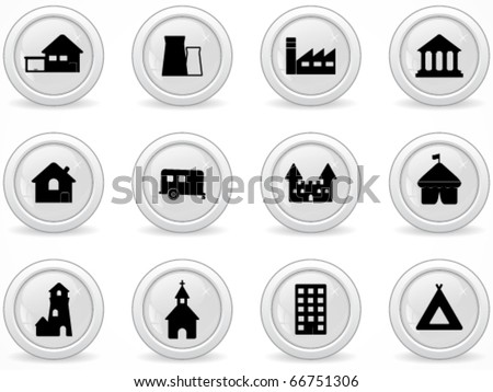 Web buttons, building icon