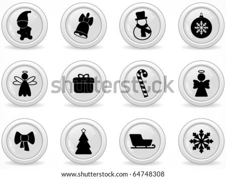 Web buttons, Christmas symbol - stock vector