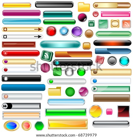 Web buttons collection with 63 scalable assorted colors and shapes inc round, square, rectangles and oval shaped buttons. Isolated on white. Raster also available.