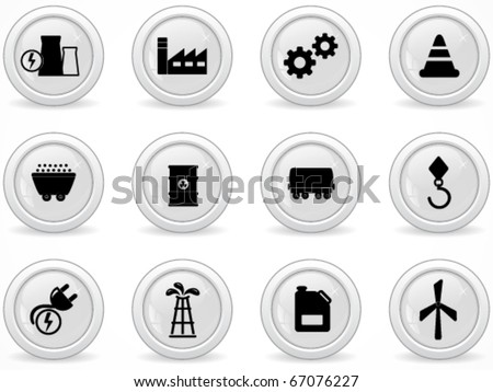 Web buttons, energy and industry icons - stock vector