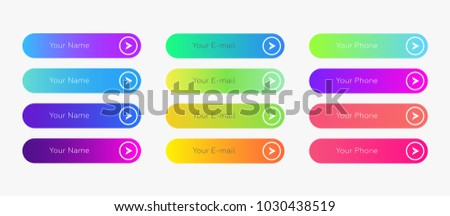 Web buttons flat design template with color gradient and thin line outline style. Vector isolated rectangular rounded web page next arrow button elements set on white background.