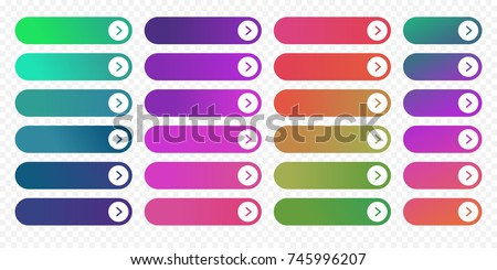 Web buttons flat design template with color gradient and thin line outline style. Vector isolated rectangular rounded web page next arrow button elements set on transparent background.