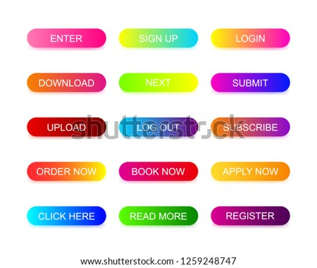 Web buttons flat design with colorful trendy gradient. Different colors icons on oval forms with shadows. Vector isolated rounded rectangular on white background. #1259248747