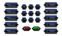 Web buttons geometric style blue color with metallic frame