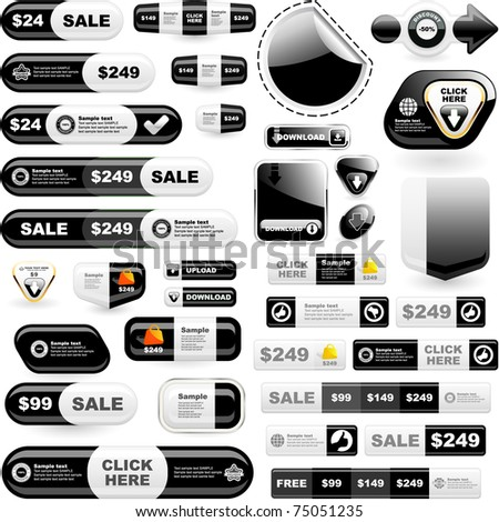 Web buttons. Online marketing - web templates. Sale elements.