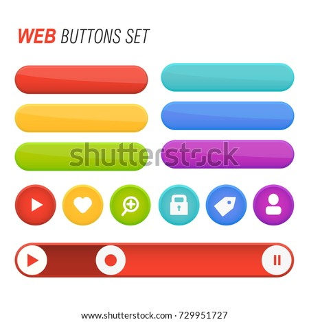 Web Buttons Set Vector Isolated