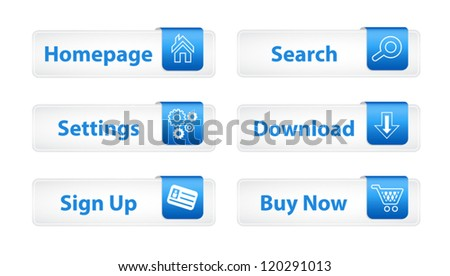 Web Buttons with Blue Bookmarks and Six Icons