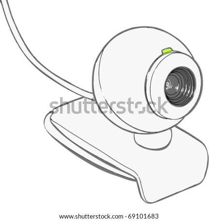 Web camera isolated on a white background - vector illustration