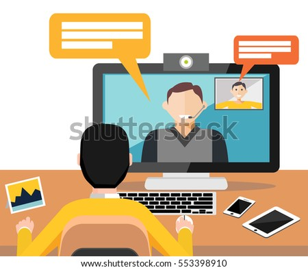 Web camera, video call, online or conference, online training, online conference application interface concept. Modern flat design for Web Banner , Website Element , Brochures, or Book cover