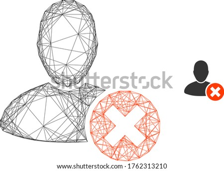 Web carcass delete user vector icon. Flat 2d carcass created from delete user pictogram. Abstract frame mesh polygonal delete user. Wire carcass flat mesh in vector format, on a white background.