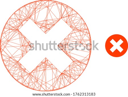 Web carcass delete vector icon. Flat 2d carcass created from delete pictogram. Abstract carcass mesh polygonal delete. Linear carcass 2D mesh in eps vector format, on a white background.