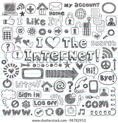 Web / Computer Doodles Icon Set - I Love the Internet Back to School Style Sketchy Notebook Doodles Vector Illustration Design Elements on LIned Sketchbook Paper