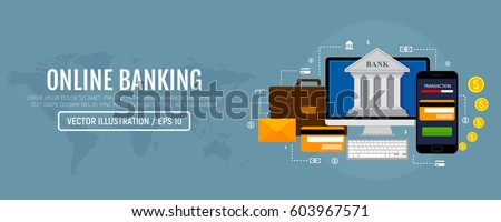 Web concept for online banking. Modern banner for internet banking. Vector illustration. Flat design.