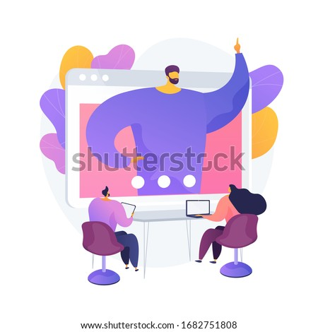 Web conference. People listening to online interactive seminar, lecture on computer screen. Webconferencing, webcast, webinar, e-learning. Vector isolated concept metaphor illustration
