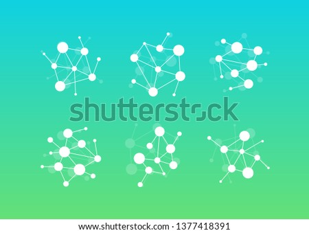 Web connection icon set. Dots and lines connecting circles, vector logo template. Modern emblem idea. Concept design for science.