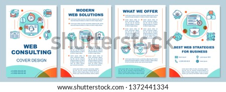 Web consulting brochure template layout. SEO. Digital marketing. Flyer, booklet, leaflet print design with linear illustrations. Vector page layouts for magazines, annual reports, advertising posters