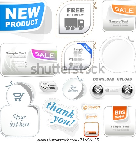 "Web coupon and banner. Symbol set for sale -""new product"", discount, offer, thank you."