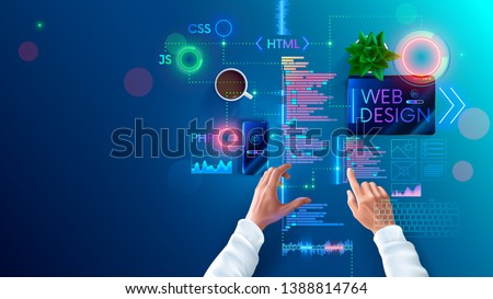 Web design and coding in internet page development languages. Designer develops site layout in programming languages and scripts. Banner concept of process of creating mobile Internet websites.