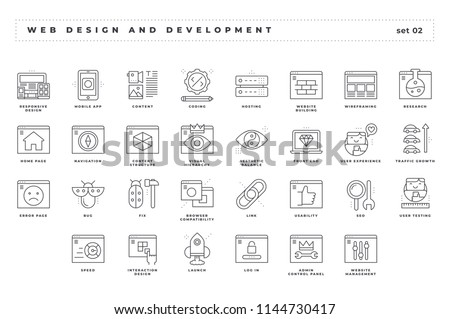 Web design and development. Set of pixel-perfect icons. Thin line style. Variety of unique and creative visual metaphors suitable for wide range of uses.