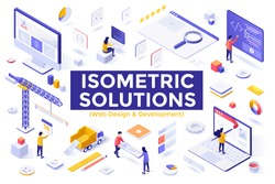 Web Design and Development set - software developers and designers working on website design, user interface. Collection of isometric design elements isolated on white background. Vector illustration.