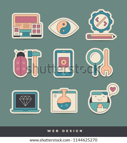 Web design and development stickers. Unique and creative visual metaphors, suitable for wide range of uses. IKONICA collection.