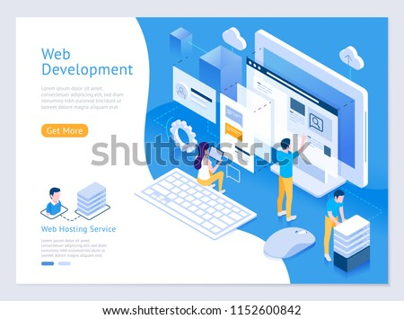 Web design and development vector isometric illustrations.