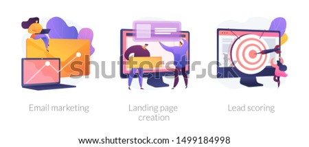 Web design and targeted advertisement flat icons set. Newsletter digital promotion. Email marketing, landing page creation, lead scoring metaphors. Vector isolated concept metaphor illustrations