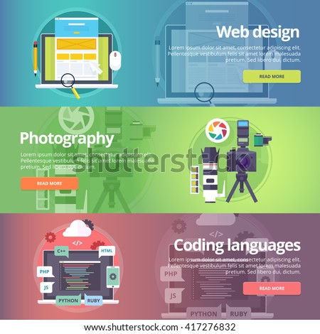 Web design. Art of digital photography. Coding languages. Programming skills. Information technologies. Website development. Technological and computer production banners set. Vector design concept.