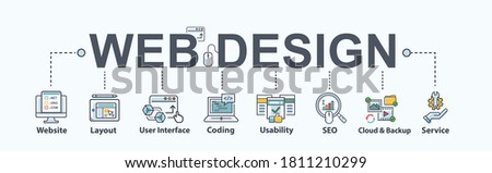 Web design banner web icon for business and e-commerce, website, SEO, layout, usability, UI, coding, developer, cloud, support and service. Minimal flat vector infographic.