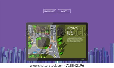 web design banner with city