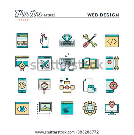 Web design, coding, responsive, app development and more, thin line color icons set, vector illustration