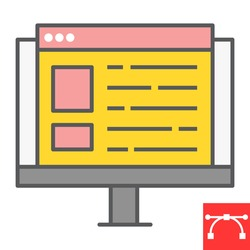 Web design color line icon, website and ux, monitor sign vector graphics, editable stroke filled outline icon, eps 10