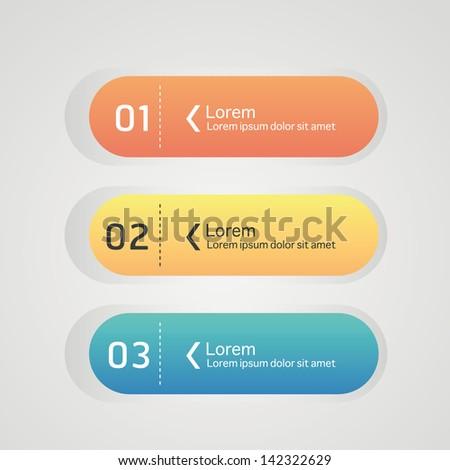 Web design colorful element buttons, navigation menu bars