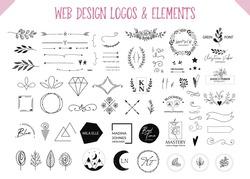 Web design elements. Blogger logo templates and decorative elements: banners, dividers, frames