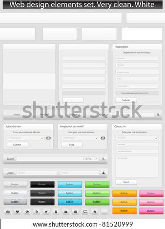 Web design elements set. Clean. White