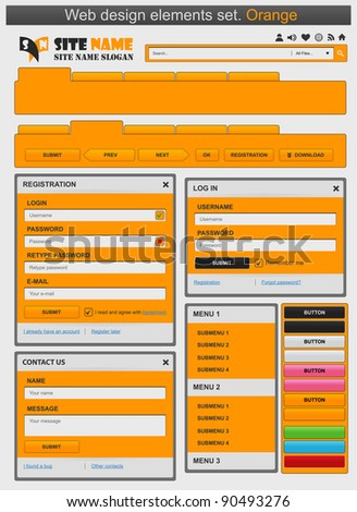Web design elements set orange. Vector illustration