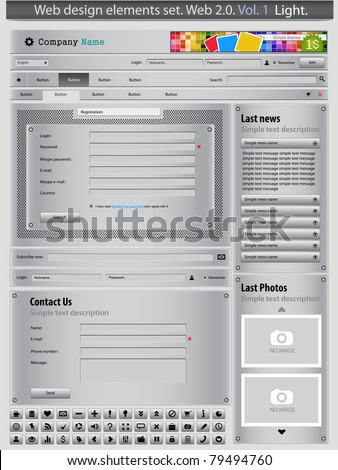Web design elements set silver 1. Vector
