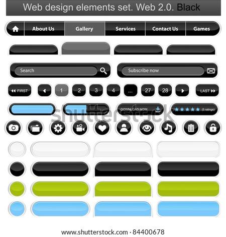 Web design elements set white. Vector illustration - stock vector