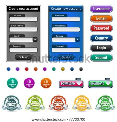 Web design elements with login form