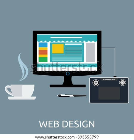 Web design graphic tablet and tool. Tablet graphic, pen graphic tablet, equipment digital drawing, device pencil, monitor tablet design, workspace and paint screen vector illustration - Shutterstock ID 393555799