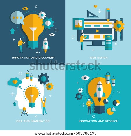 Web Design, Idea and imagination, Reserch,Innovation and Discovery concepts. Set. Vector illustration