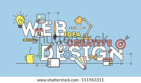 Web design illustration with icons. Concept of creating websites, creating logos, ux, seo and more.