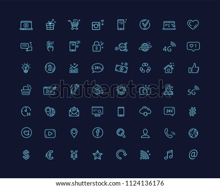 Web design internet social media and technology  vector icons set with dark background