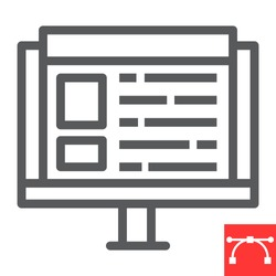 Web design line icon, website and ux, monitor sign vector graphics, editable stroke linear icon, eps 10