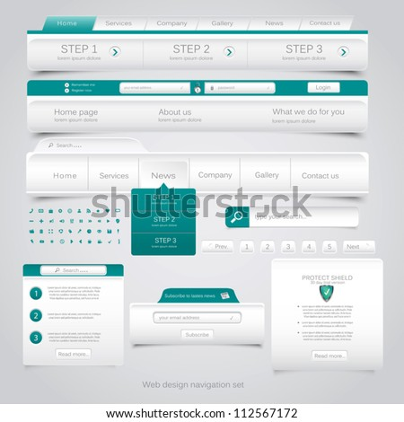 Web design navigation set. Vector