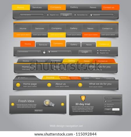 Web design navigation set. Vector