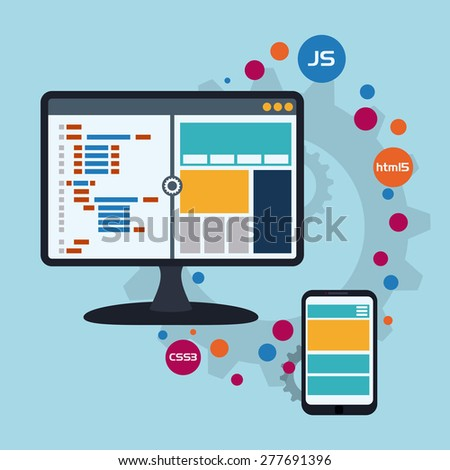 Web design over blue background, vector illustration. #277691396