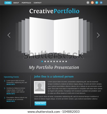 web design portfolio template - book pages view - creative layout for designers and photographers - easy editable vector